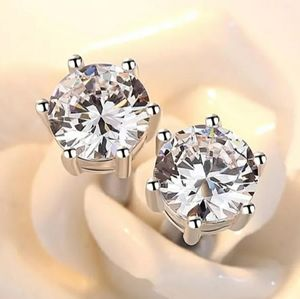 NEW 925 STERLING SILVER PLATED SOLITAIRE STUDS